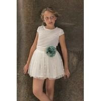 Conjunto falda tul y camiseta beig Narciso. NEKENIA. 1821200