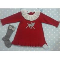 Vestido granlei   punto rojo con cervatillo1185