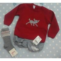 Granleí conjunto ranita y jersey rojo con cervatillo