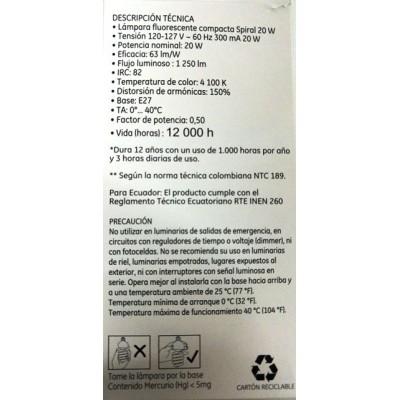 35732 Lámpara Fluorescente Compacta Spiral 20 W c/u