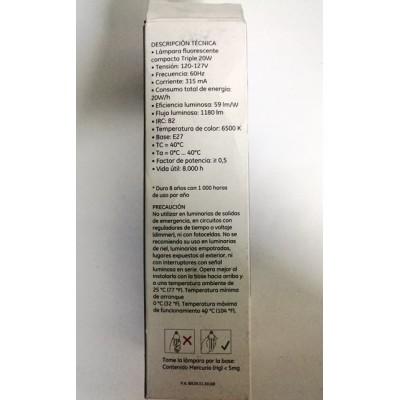 33635 Lámpara Fluorescente Compacta Triple 20 W c/u