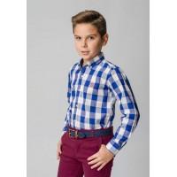 camisa botón popelin cuadros azulon